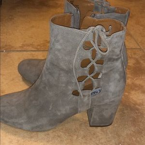 Grey Suede Cut-Out Booties